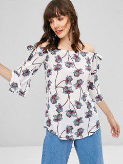 Floral Off The Shoulder Tunic - White Xl