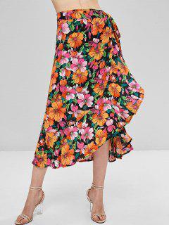 Floral Print Ruffle Midi Wrap Skirt - Multi L