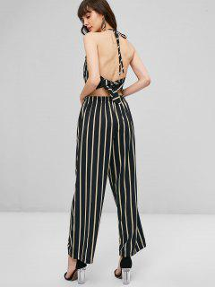 Knotted Back Striped Pants Set - Black L