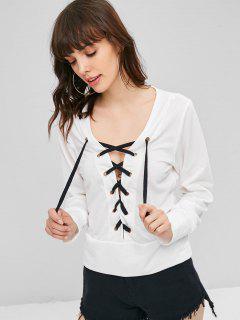 Plunge Lace-up Sweatshirt - White S