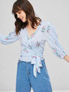Floral Striped Wrap Top - Light Blue M