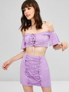 Lace Up Off Shoulder Skirt Set - Mauve M