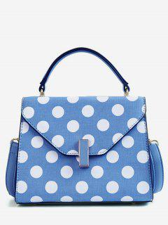 Polka Dot Print Retro Flap Handbag With Strap - Blue