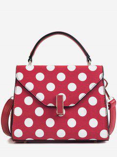Polka Dot Print Retro Flap Handbag With Strap - Red