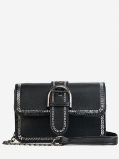 Stitching Contrasting Color PU Leather Flap Crossbody Bag - Black
