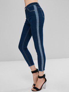 Jeans Skinny De Dos Tonos - Azul Profundo L