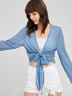 Semi Sheer Golden Stars Tie Front Blouse - Blue Koi L