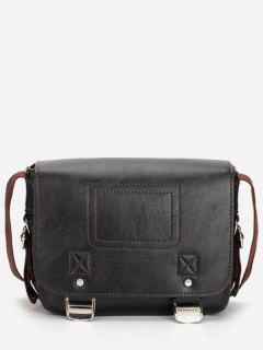 Casual Flap Faux Leather Minimalist Crossbody Bag - Black