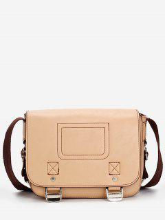 Casual Flap Faux Leather Minimalist Crossbody Bag - Light Khaki