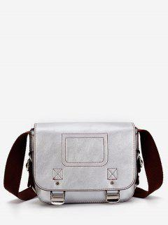 Casual Flap Faux Leather Minimalist Crossbody Bag - Silver