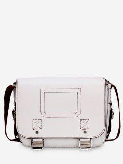 Casual Flap Faux Leather Minimalist Crossbody Bag - White