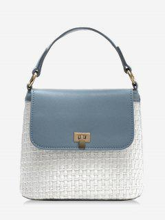 Contrasting Color Flap Straw Chic Handbag With Strap - Blue