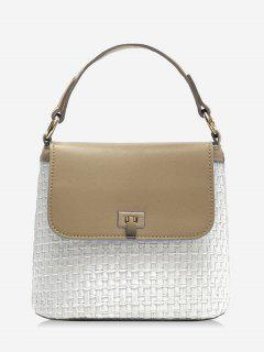 Contrasting Color Flap Straw Chic Handbag With Strap - Light Khaki