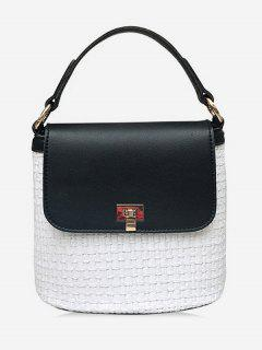 Contrasting Color Flap Straw Chic Handbag With Strap - Black