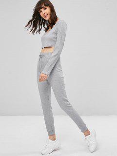 Ribbed Crop Pants Set - Gray M