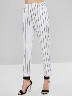 Striped High Waisted Pants - White M