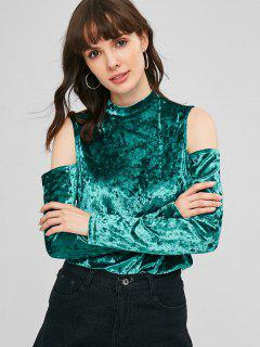 Cold Shoulder Crushed Velvet Top - Light Sea Green S