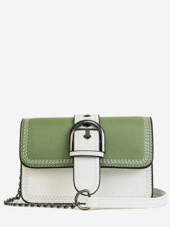 Stitching Contrasting Color PU Leather Flap Crossbody Bag - Green