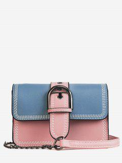 Stitching Contrasting Color PU Leather Flap Crossbody Bag - Blue
