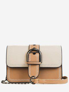 Stitching Contrasting Color PU Leather Flap Crossbody Bag - Beige