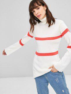 Streifen Rollkragen Pullover - Weiß S