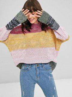 Color Block Loose Knit Sweater - Multi