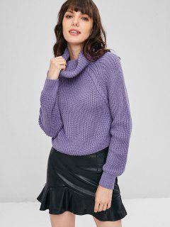 Suéter Recortado De Punto Jersey Con Cuello Redondo - Púrpura Mediana L