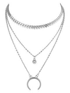 Crescent Moon Rhinestone Layer Fishbone Chain Necklace - Silver