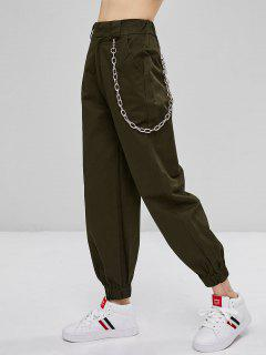 Chain Embellished Jogger Pants - Army Green L