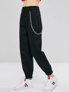 Chain Embellished Jogger Pants - Black L