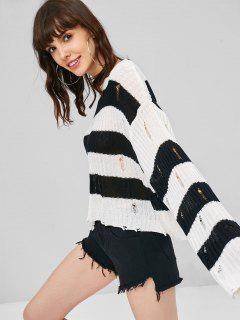 Distressed Stripes Cropped Sweater - White