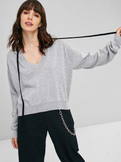 Drawstring Hooded Sweater - Gray Cloud