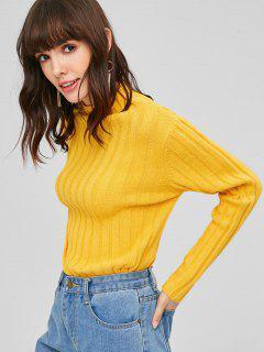 Hoher Ausschnitt Einfaches Sweater - Niedliches Gummi Gelb M