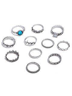 Conjunto De Anillos De Diamantes De Imitación - Plata Serie De Anillos