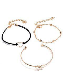 Ensemble De Bracelets Cœur Nœud Papillon Design - Or