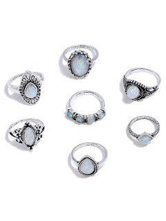 Anillos De Diamantes De Imitación En Forma De Lágrima - Plata Serie De Anillos
