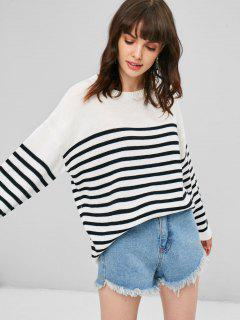 Striped Loose Sweater - White