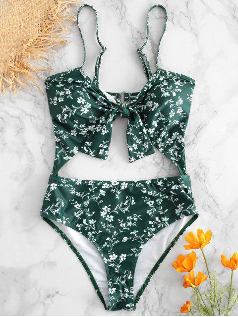 buy Floral Cut-Out Knotted Swimsuit - MEDIUM SEA GREEN S Mobile