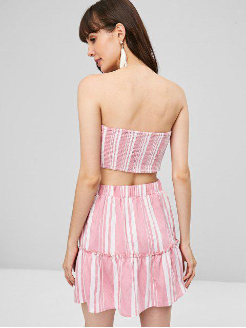 best Knotted Striped Skirt Set - PIG PINK M Mobile