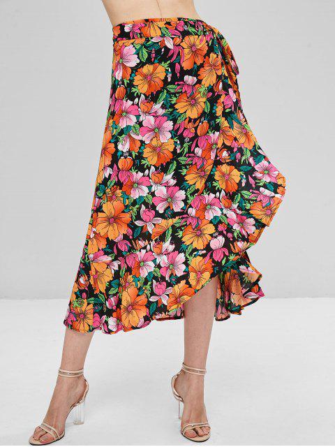 Falda de lazo a media pierna con estampado floral - Multicolor S Mobile