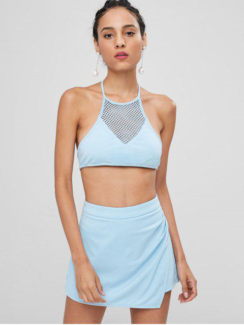 fashion Halter Lattice Top and Skorts Set - LIGHT BLUE L Mobile