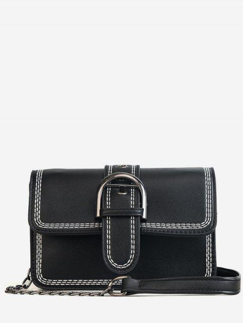 latest Stitching Contrasting Color PU Leather Flap Crossbody Bag - BLACK  Mobile