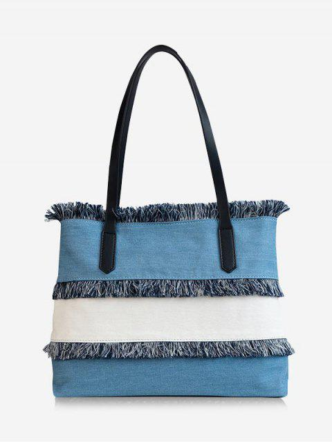 outfits Contrasting Color Frayed Edge All Purpose Tote Bag - LIGHT BLUE  Mobile
