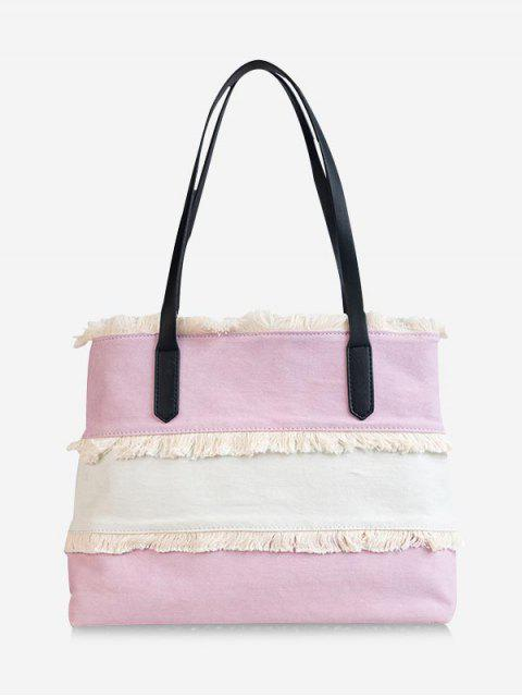 shop Contrasting Color Frayed Edge All Purpose Tote Bag - LIGHT PINK  Mobile