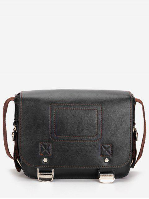 Casual Flap Faux Leather Minimalist Crossbody Bag - Negro  Mobile