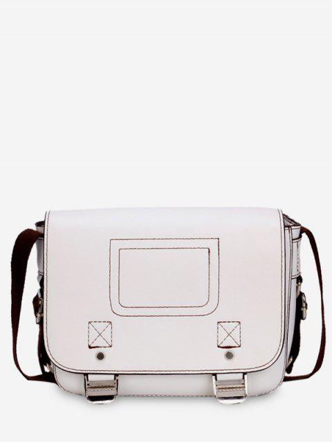 Casual Flap Faux Leather Minimalist Crossbody Bag - Blanco  Mobile