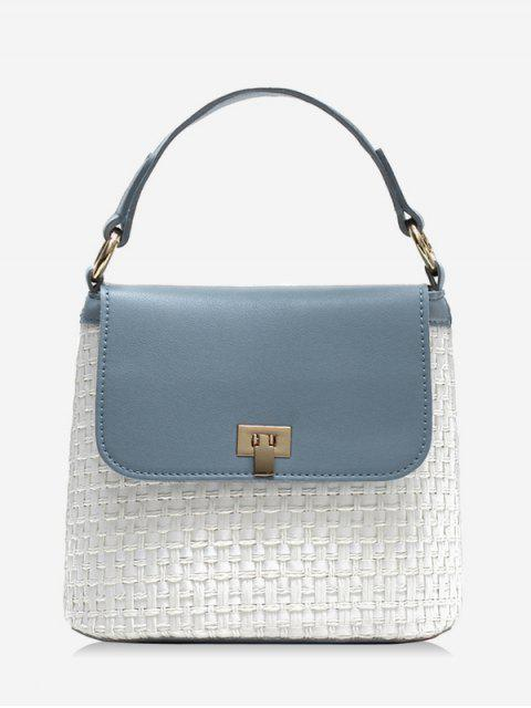 latest Contrasting Color Flap Straw Chic Handbag with Strap - BLUE  Mobile