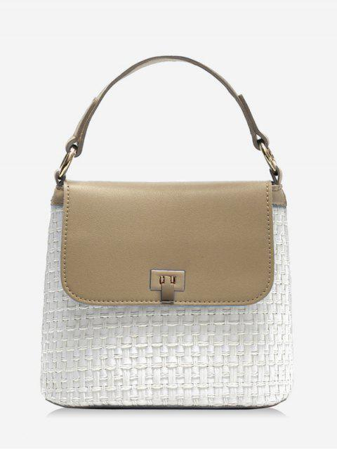 fashion Contrasting Color Flap Straw Chic Handbag with Strap - LIGHT KHAKI  Mobile