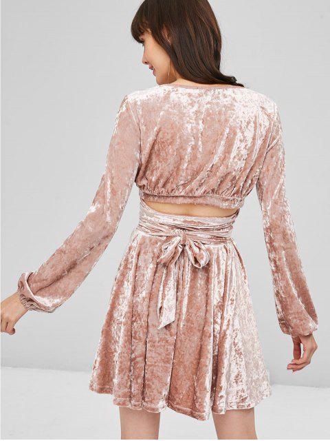 fashion Velvet Wrap Top and Skirt Set - KHAKI ROSE S Mobile