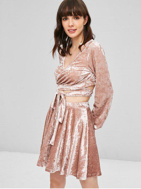 chic Velvet Wrap Top and Skirt Set - KHAKI ROSE M Mobile